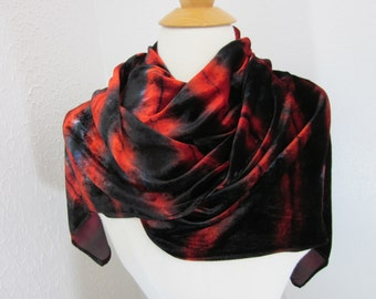Scarf Silk Velvet Fuschia and Black Large Size