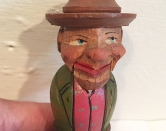 Hand Carved Wooden Guy Bottle Stopper w moving parts