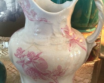 Beautiful white and pink Ironstone pitcher 7-1/2 inches tall by 6-1/2 inches wide vintage pitcher crazing pottery shabby beautiful vase