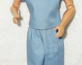 New Handmade Doctor/Nurse Medium Blue Scrubs for Ken Shoes Mask