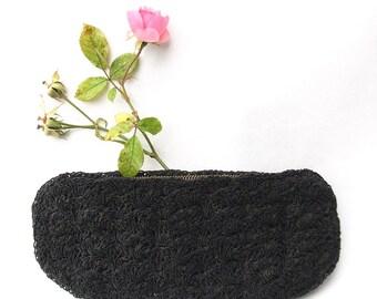 Vintage Black Clutch - Textured Purse
