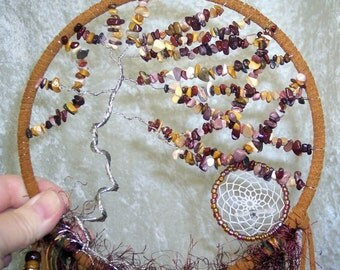 Windswept MOUKAITE TREE of LIFE - Dreamcatcher  in Cream, Brown, and Brick by Feathered Dreams