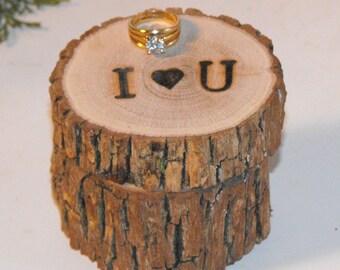 Ring Bearer Pillow,  Engagement ring box, Wedding ring bearer box, Woodland wedding ring box, rustic ring bearer holder,  rustic ring box