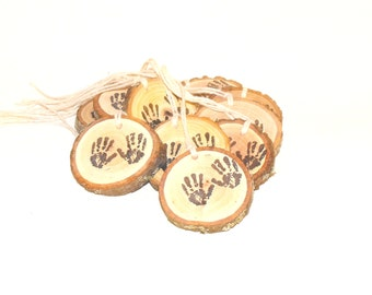 Tiny hand Baby Shower Decorations ~ New baby hand print hang tag ~ Woodland baby handprint charms ~ Rustic baby shower decor ~ 10 Baby hands