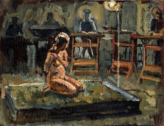 Night Study, Female Nude. Original Figure Painting, 8x11 Unstretched Oil on Canvas, Small Realist Figure Sketch, Signed Original Fine Art