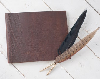 Personalized Leather Guest Book - Rustic Brown Leather - by ClaireMagnolia