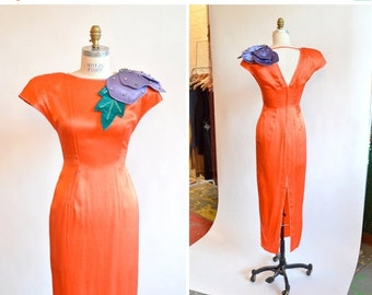 30% OFF STOREWIDE / Vintage 1960s COUTURE silk evening gown
