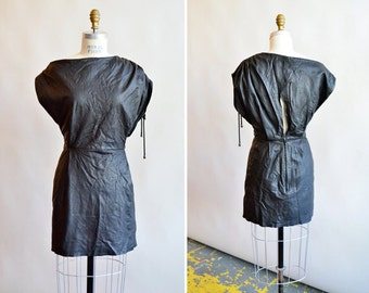Vintage lamb LEATHER avante garde mini dress