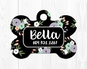 Dog Tag for Dogs Dog ID Tag Pet Gift Dog Tags Pet ID Tags Personalized Dog Tag ID Floral Custom Dog Tag Dog Tag Custom Pet Tag Black Purple