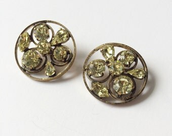 Pair of Vintage Rhinestone Buttons, Light Green, '50s-'60s Antique Gems, Sewing, Crafts