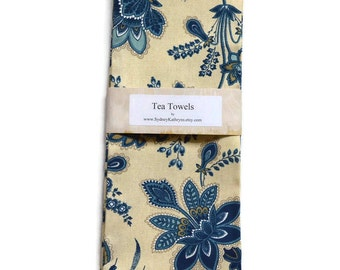 Tea Towels, Navy and White, Dish Towels, Set of 2, Decorative Kitchen Towels