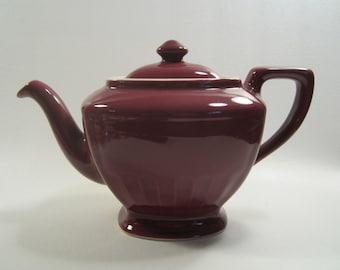 Vintage Hall China Teapot Hollywood Burgundy Maroon 6 cup