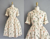 50s rare Japanese print silk full skirt vintage shirt dress / vintage 1950s dress