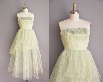 celery green tullle lace prom dress / 50s dress / vintage 1950s dress