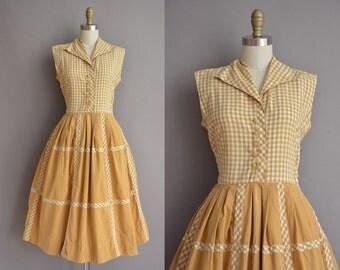 50s golden cotton gingham vintage dress / vintage 1950s dress
