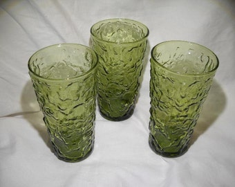 Set of 3 Green Anchor Hocking Milano Lido Crinkle Glasses, Crinkle Glass Tumblers