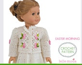 Doll Clothes Crochet Pattern, fits American Girl Doll, Doll Summer Skirt Cardigan Skirt Pattern, 18 inch Doll Clothes Pattern