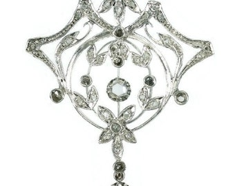 Antique Belle Epoque floral brooch pendant set rose cut diamonds