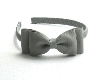 Grey Bow Headband, Girls School Uniform Headband, Toddler Headband, Hard Bow Headband