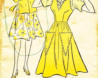 Vintage 1940s Dress Pattern - New York Pattern 1614 - Misses' Sleeveless Back-closing Jumper and Front-closing Blouse - SZ 18/Bust 36