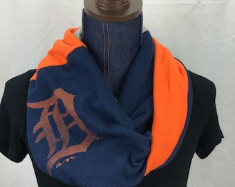 Detroit Tigers Recycled T Shirt Infinity Scarf