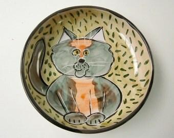 Dilute Tortoiseshell Grey Orange Cat Ceramic Feeding Dish Bowl Clay Pottery Majolica Handmade Olive Green