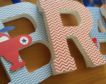 Airplane Theme, Vintage Custom Wooden Letters, Baby Boy, Royal Blue Decor,  Red Part 96