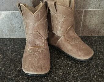 Baby's 1st Cowboy Boots Shoes in Caramel Brown Leather