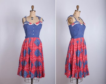 vintage 1970s denim handkerchief dress