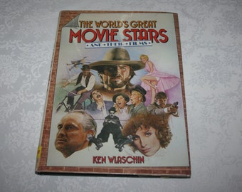 Vintage The World's Great Movie Stars And Their Films Hard Cover Dust Jacket