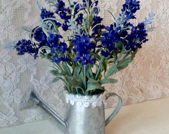 Small Spring Arrangement, Mother's Day, Table Top Arrangement, Purple Salvia, Shabby Cottage, Metal Water Pitcher, Romantic Cottage