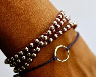 Summer SALE Good Karma bracelet. Sterling silver circle bracelet. Irish linen cord
