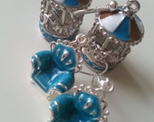 Blue and silver, earrings, choose Merry-go-round, chairs, blue enamel, by NewellsJewels on etsy