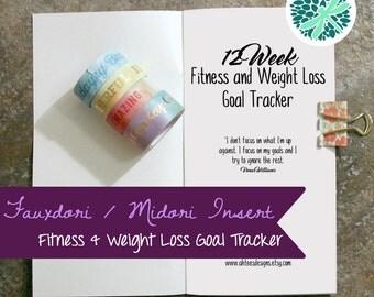 Fauxdori Midori Fitness Weight Loss Planner Tracker Insert