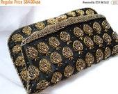 BIG ASS SALE vintage 40s 50s 60s beaded fold over gold and black satin clutch bag purse envelope