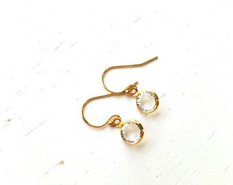 Tiny Pebble Earrings - clear round swarovski crystal gem & gold filled - simple wedding jewelry or for everyday - adenandclaire