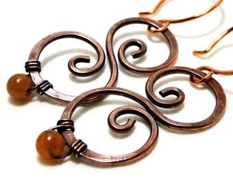 Hammered Copper, Modern Earrings, Antiqued Copper, Orange Aventurine, Scroll Earrings
