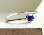 Stacking ring sterling silver ring with lapis lazuli.