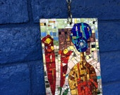 Suncatcher Mirror Mosaic, Blue Hair Woman Mosaic, Sun Catcher Dazzling Blue, Mirror Mosaic Suncatcher, Sparkling Sun Catcher - free shipping