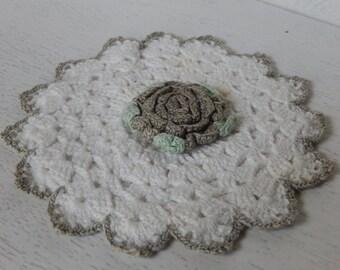 Vintage Potholder Crochet Gray Rose Cottage Chic Handmade Kitchen Home Decor