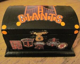 San Francisco Giants Hand Crafted and Decoupaged Wood  Keepsake Box