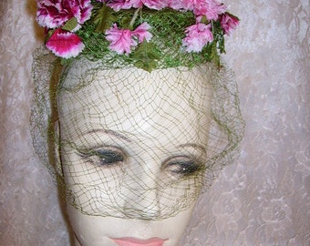 Vintage Ladies Floral Hat 1950s Pink Carnations with Net Veil