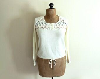 vintage sweater 1970s ivory rainbow peasant hippie clothing size medium m