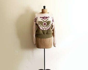 vintage sweater 1980s clothing geometric design olive green abstract size s m small medium