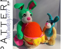 INSTANT DOWNLOAD : Bubba the Easter Bunny w/Egg & Buster the Bunny Crochet Patterns