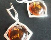 SALE 15% OFF Baltic Amber Earrings - Sterling Silver 925 Genuine Baltic Amber Earrings - Modern Design Earrings - Drop Amber Earrings - Hone