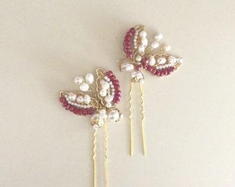 Tulips Bridal hair pins, Pearl Hair pins, Beaded hair Pins, Pink & Gold weddings Vintage Style