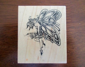 winged fairy rubber stamp mounted on wood -  PSX E-742
