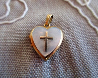 vintage 12K gold filled heart locket -mother of pearl, cross