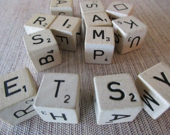 dice - 13 pieces - wood, game, letters, alphabet, words, assemblage, anagram